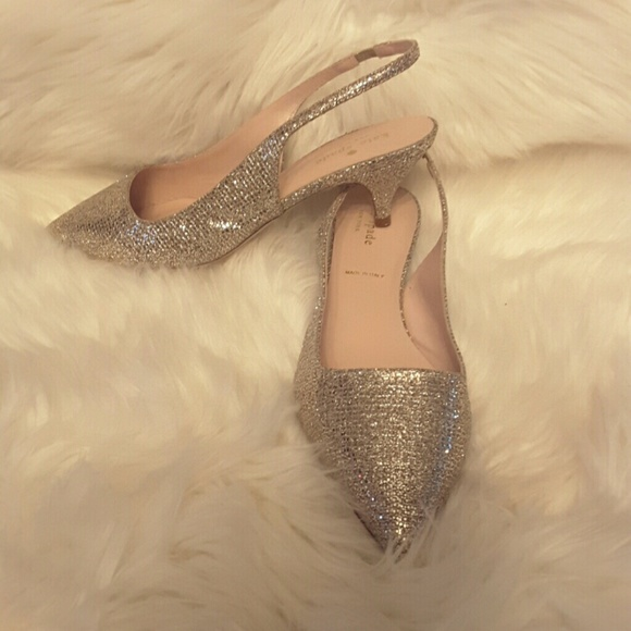 36f1c3dbe kate spade Shoes | Jeanette Pointed Toe Glitter Slingbacks | Poshmark